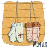Winter mittens on rope. Vector illustration for a postcard. Or a poster, print for clothes. New Year`s and Christmas. Festive postcard Stock Images