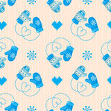 Winter Mittens Seamless Pattern. Blue version. May be used for w Stock Photo