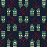 Winter mittens seamless pattern with hearts for xmas holiday. Cute christmas background. Winter mood illustration Stock Photography