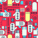Winter mittens snowflake seamless pattern Royalty Free Stock Photos
