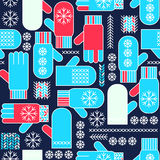 Winter mittens snowflake seamless pattern Royalty Free Stock Images