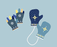 Winter Mittens in Soft Vintage Colors. Gloves Stock Images