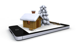 Winter on mobile phone. Little log cabin with winter theme on white screen of a mobile phone Stock Images