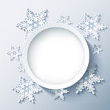 Winter modern background grey, 3d snowflakes. Winter abstract modern background with 3d white and grey snowflakes, trendy round frame. Christmas and New Year Stock Photo