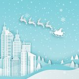 Winter modern city landscape with skyscrapers, paper houses, pin stock illustration