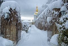 Winter monastery lavra Royalty Free Stock Image