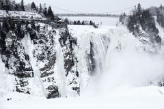 Winter at Montmorency Falls Stock Image