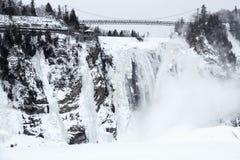 Winter at Montmorency Falls Stock Image
