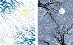 Winter Mood 1. Falling snow flakes, tree branches, ice, blizzard, the wind Stock Image