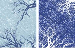 Winter Mood 2. Falling snow flakes, tree branches, ice, blizzard, the wind Royalty Free Stock Image