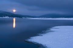 Winter moon. Winter landscape; moon shot early morning Royalty Free Stock Photo