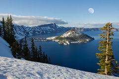 Winter Moon over Crater Lake snowscape Royalty Free Stock Photo