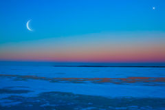 Winter moonlit night background Stock Photo