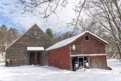 Winter-Morgen auf dem Bauernhof Stockfotografie