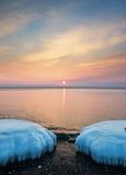 Winter morning 2. Japan sea. Amur gulf. Russia. Winter morning. Shot 2 stock photo