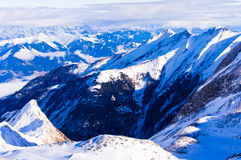 Winter morning at Austrian alps from the top of Kaprun glacier Royalty Free Stock Photo