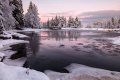 Winter morning. Bits of ice swirling around in a river on a winter morning Stock Photos