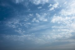 Morning sky with clouds. Winter morning blue sky with clouds and texture royalty free stock images