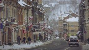 Winter morning, Brasov, Romania stock video footage