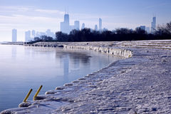 Winter morning in Chicago. Illinois Royalty Free Stock Photo