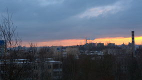 Winter morning in the city, dawn stock footage