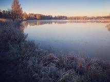 Winter morning. Cold winter morning in Latvia royalty free stock photos