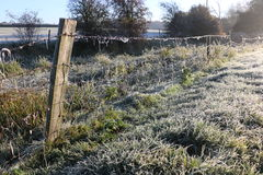 Winter morning in the countryside. A frosty winter`s morning in the English countryside with the sun rising off the fields Royalty Free Stock Photography
