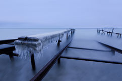 Winter morning at the fishing village Stock Photography