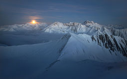Winter morning in high mountains stock photo