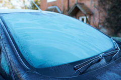 Winter Morning With Ice On Car Windshield Stock Photo