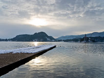 Winter morning on lake Bled Stock Photos