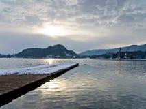 Winter morning on lake Bled Stock Photos
