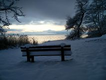 Winter morning. Lake chiemsee bavaria royalty free stock photo