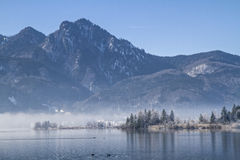Winter morning at lake Kochel Stock Photography