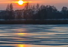 Winter morning on the Lielupe river, Latvia Stock Image