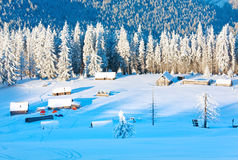 Winter morning mountain landscape Stock Images
