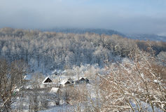 A winter morning in the mountain village Mezmay Royalty Free Stock Images