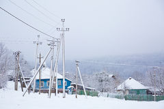 A winter morning in the mountain village Mezmay Royalty Free Stock Image