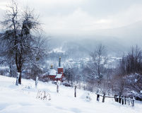 A winter morning in the mountain village Mezmay temple Stock Images