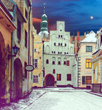 Winter morning in old Riga, Latvia Royalty Free Stock Images