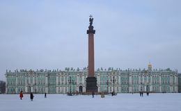 Winter morning at the Palace Square Stock Photos