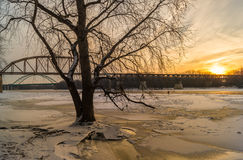 Winter morning on the river. Winter morning on the Illinois River as the sun shines across the frozen surface Stock Image