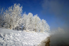 Winter morning on the river. Winter landscape misty morning on the river at sunrise Royalty Free Stock Image