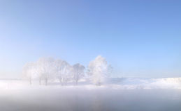 Winter morning on the river Zai Stock Image