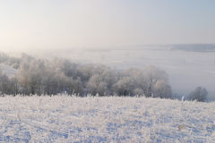 Winter morning on the river Zai. Landscape winter morning on the river Zai Royalty Free Stock Photo