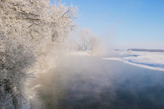 Winter morning on the river Zai. Landscape winter morning on the river Zai Stock Image