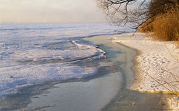 Winter morning of Saint Lawrence river Royalty Free Stock Photography