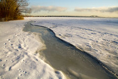 Winter morning of Saint Lawrence river Royalty Free Stock Images