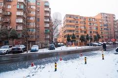 Winter morning scene at steet in Dalian, China. Stock Image