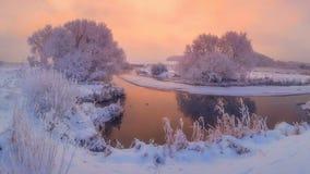 Winter morning. Scenic winter landscape at sunrise stock photo